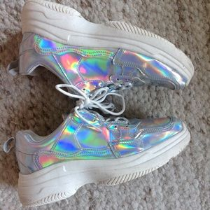 IRIDESCENT DAD SNEAKERS rainbow silver Wild Fable